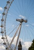 Two of London`s tourist icons together. Big Ben through the London Eye Stock Image