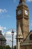 Big Ben and the London Eye Stock Photo