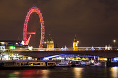 Big Ben, London Eye and Waterloo Bridge at night Stock Photography