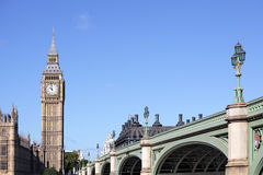 Big Ben, London, Houses of Parliament with Westminster Bridge, copy space Royalty Free Stock Image