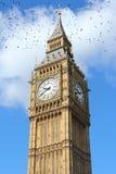 Big Ben, London. Landmark. United Kingdom. Black ominous birds in the sky stock photo
