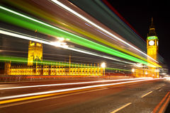 Big Ben London with lights from incoming bus Stock Photography