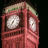 Big Ben, London. Night shot with close detail on the face of the iconic London landmark, the clock tower familiarly known as Big Ben royalty free stock images