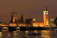 Big Ben of London at night. Big Ben at night,  London, UK Stock Image
