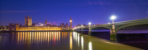 Big Ben London at night. London Big Ben Westminster Bridge House of Parliament Thames River England Royalty Free Stock Photo