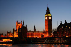 Big Ben and London Parliament. Famous Big Ben and the house of parliament in London during evening Royalty Free Stock Image