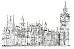 Big Ben London Pencil Drawing. Pencil drawing of Big Ben, London Royalty Free Stock Images