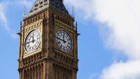 Big ben in London at a quarter to twelve o'clock Royalty Free Stock Photo
