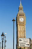 Big Ben and London Road Sign Stock Photography