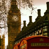 Big Ben Red Phone Booths and London rooftops Royalty Free Stock Photo