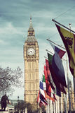 Big Ben, London and a row of International flags Royalty Free Stock Images