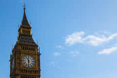 Big ben in london seen in daylight with blue sky Royalty Free Stock Image