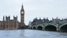 Big Ben in London, Thames river stock video
