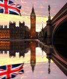 Big Ben, London, UK. Big Ben with flag of England, London, UK Stock Photography