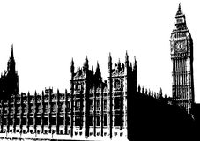 Big Ben London UK. A illustration showing big ben and the houses of parliament or Westminster palace in London UK Royalty Free Stock Images