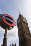 Big Ben London Underground. A London Underground sign in front of Big Ben in Westminster, London Stock Photography