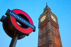 The Big Ben and the London 'Underground' logo. Stock Photos