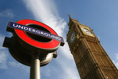 Big Ben and London Underground sign Royalty Free Stock Photo