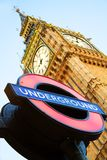 Big Ben with London Underground sign. London - MAY 27: Big Ben with London Underground sing on May 27, 2011 in London. Big Ben is one of the London's famous Stock Photography
