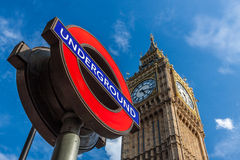 Big Ben and London Underground station sign Stock Photos