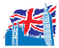 Big ben of london with union jack as a background Royalty Free Stock Images