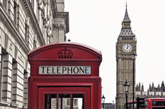 Big Ben, London, United Kingdom. A view of Big Ben and a classic red phone box in London, United Kingdom Royalty Free Stock Photography
