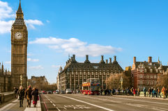 Big Ben in London, United Kingdom. LONDON, UK - JANUARY 19: A view of the Big Ben from Westminster Bridge on January 19, 2015 in London, United Kingdom Royalty Free Stock Photos