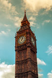 Big Ben in London, United Kingdom. A view of the iconic Big Ben in London, United Kingdom, against a cloudy sky Royalty Free Stock Photos