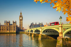 Big Ben in London. Big Ben and westminster bridge in London Stock Photo
