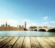 Big Ben in London and wooden Royalty Free Stock Photo