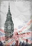 Big Ben, Londra, Inghilterra, Regno Unito Disegnato a mano Fotografie Stock Libere da Diritti