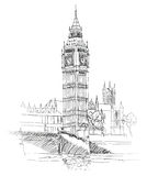 Big Ben, Londres, Angleterre, R-U. Fond d'old-fashioned de l'Europe de voyage. Photographie stock