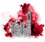 Big Ben, Londres Reino Unido Bosquejo con efecto colorido del color de agua ilustración del vector
