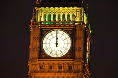 Big Ben at midnight. The clock tower of The Houses Of Parliament was built in on the site of the royal palace of Edward the Confessor in a neo gothic style Stock Photo
