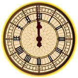Big Ben Midnight Clock Face. The clock face of the London icon Big Ben showing 12 o clock stock illustration
