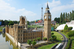 Big Ben in Mini Europe. BRUSSELS, BELGIUM - SEPTEMBER 4: Mini-Europe on September 4, 2014 in Brussels. Mini-Europe has reproductions of monuments in the European Royalty Free Stock Photos