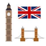 Big Ben mit der Flagge und Brücke berühmt London-Konzept stock abbildung