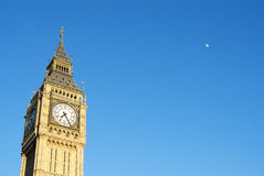 Big Ben with moon Royalty Free Stock Photo