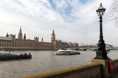 Big Ben with motor boat in Westminster, London, UK. Stock Photos