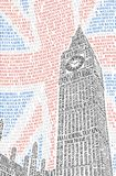 Big Ben of the names of London attractions. Vector Stock Photography