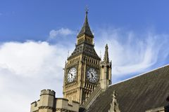 Big Ben London -The Great Bell - United Kingdom. Big Ben is the nickname for the Great Bell of the clock at the north end of the Palace of Westminster in London Royalty Free Stock Photography