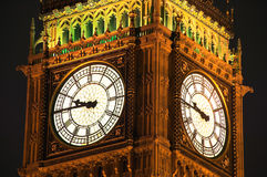 Big Ben at night. The clock tower of The Houses Of Parliament was built in on the site of the royal palace of Edward the Confessor in a neo gothic style after Royalty Free Stock Photo