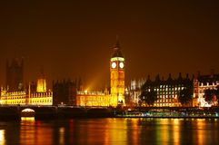 The Big Ben at night. London night scene, Big Ben and Westminster Abbey Royalty Free Stock Image