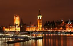 Big Ben at Night. Across the river thames stock image