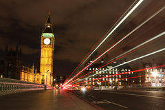 Big Ben at night. The English Parliament and the Big Ben at night stock photos