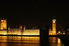 The Big Ben at night. The Palace of Westminster and the Big Ben at night time Stock Images