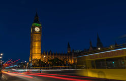 Big Ben at night. The British Parliament and the Big Ben at night. London, May 2017 Royalty Free Stock Images