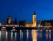 Big Ben by night. The Big Ben and British parliament by night, London, UK Royalty Free Stock Images