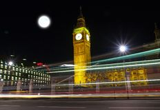 Big Ben at night. With bus light tracks Royalty Free Stock Image