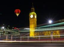 Big Ben at night. With bus light tracks Stock Image